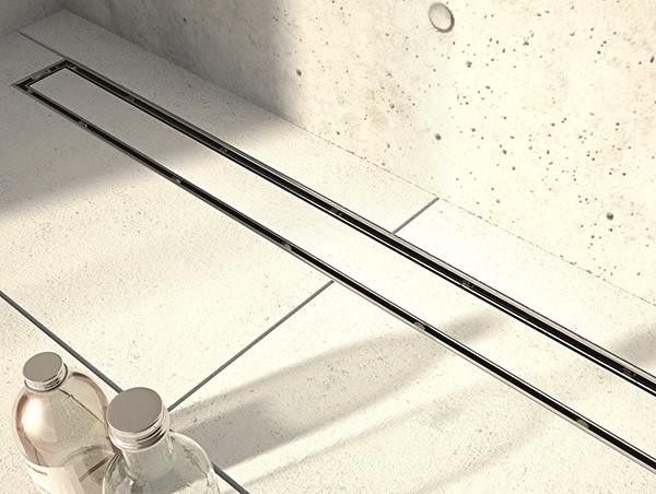 SOLS HAMMAM avec écoulement SIPHON LINEAIRE type CANIVEAU - MONO PENTE - Accès PMR