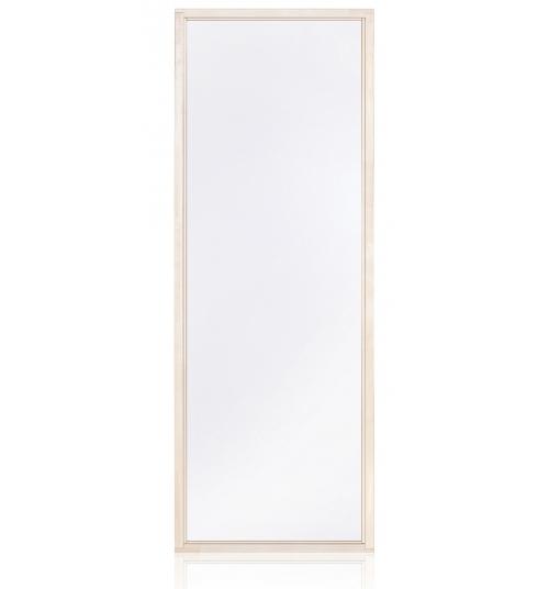 Paroi verre sauna donnant la vue sur l'exterieur du batiment